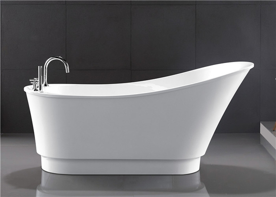 Classic Resin Acrylic Free Standing Bathtub With Faucet Oval Shaped supplier