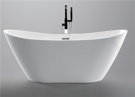 PMMA Portable Freestanding Oval Tub , White Plated Freestanding Soaker Tubs
