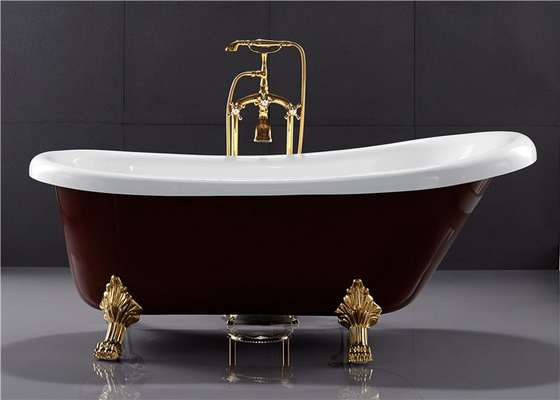 67 Inch PMMA Acrylic Free Standing Bathtub Clawfoot Soaking Tub Dark Red Color