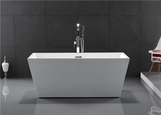 Fiberglass Freestanding Rectangular Tub , Modern Stand Alone Tub In Small Bathroom