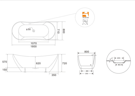 1800mm Long Oval Freestanding Tub With Pop - Up Drain Customized Color supplier