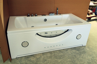 "Large 70"" Corner Whirlpool Bathtub 2 Person Jetted Tub Built - In Heater"