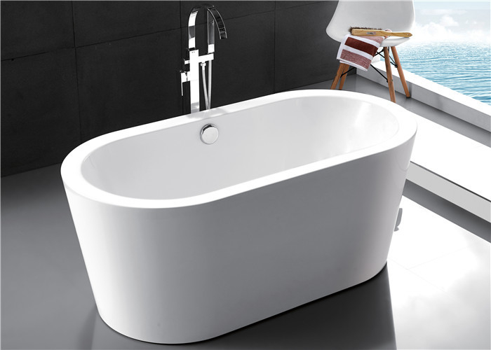 Polyester resin freestanding soaking bathtubs for small for Acrylic soaker tub