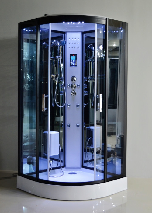 Black Glass Steam Shower Bath Cabin 1000 1000 With