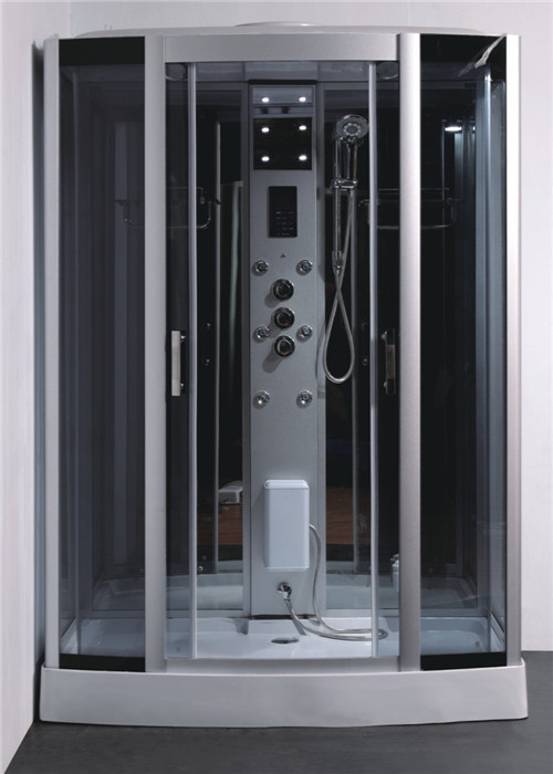 Tempered Glass Rectangle Steam Shower Tub Combo With Computer Controlled
