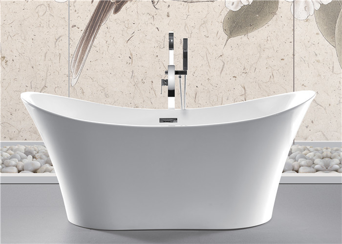 Back To Wall White Slipper Soaking Tub , 5 Ft Freestanding Soaking Tub Indoors