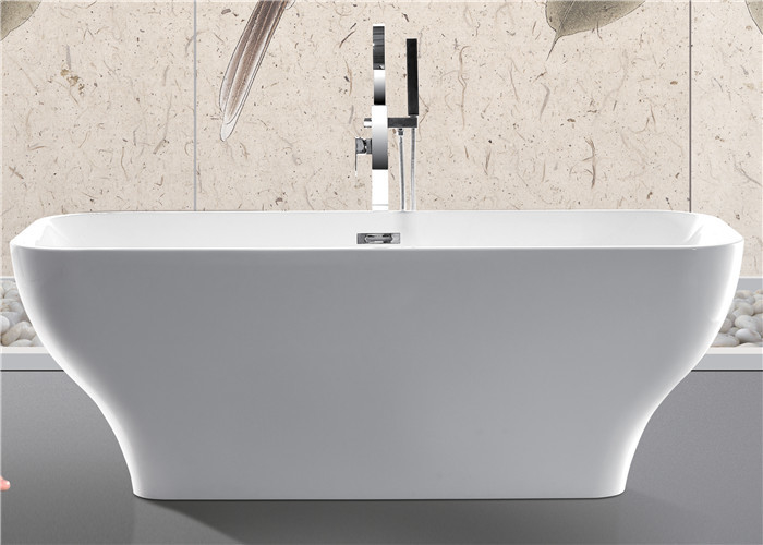 Modern Acrylic Free Standing Bathtub Single / Double Ended Tub Roll Top Thin Edge supplier