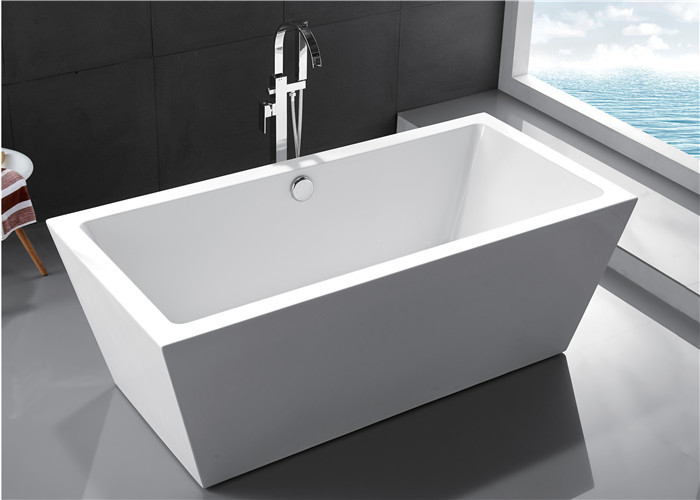 Clear Luxury Square Freestanding Bathtub Rectangular Corner Tub Pure Color