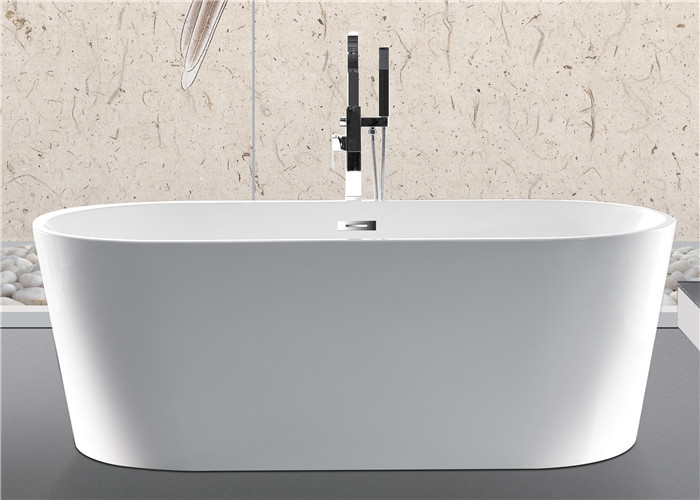 Luxury Central Drain Oval Freestanding Tub With Overflow 59''X29.5''X23.6''