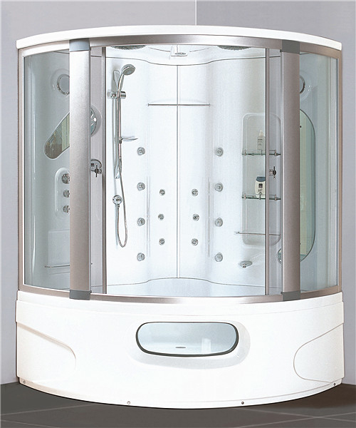 Modern Corner Shower Tub Combo Steam Cubicle Enclosure Bath Cabin With Jets