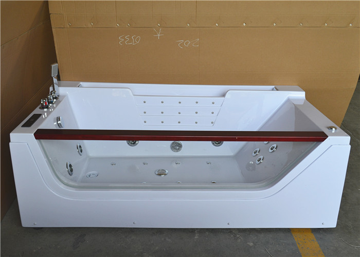 Double Ended Jacuzzi Whirlpool Bath Tub With Water Heater Left Center Drain