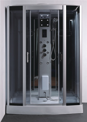 China Tempered Glass Rectangle Steam Shower Tub Combo With Computer Controlled distributor