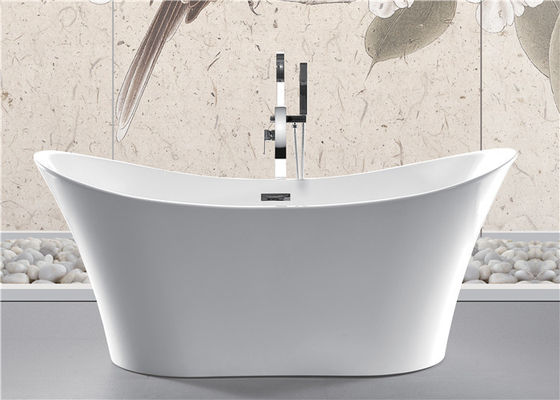 China Back To Wall White Slipper Soaking Tub , 5 Ft Freestanding Soaking Tub Indoors distributor