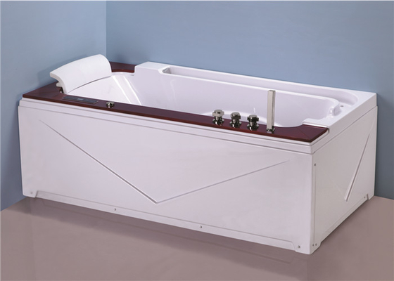 China High End Jacuzzi Freestanding Bathtub With Oak Wood Bead Computer Control Panel factory