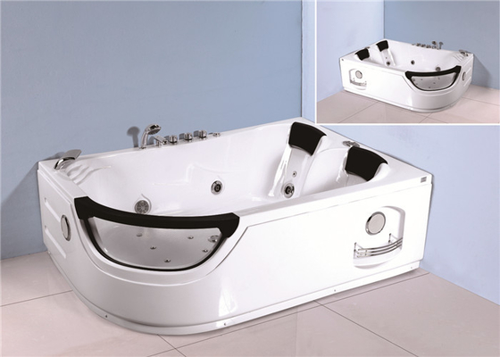 China Jacuzzi Bubble Bath Jetted Corner Whirlpool Bathtub With Shelf 1800*1230*680mm factory