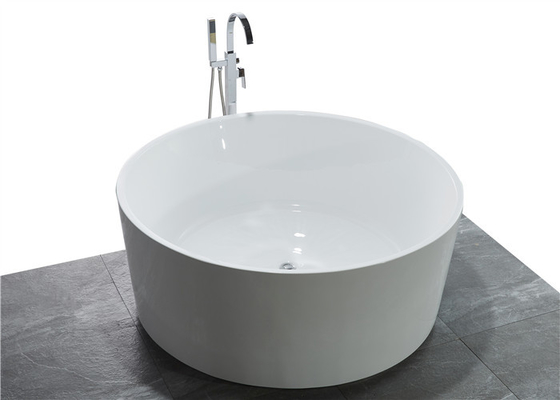 China White High End Acrylic Freestanding Soaking Tubs For Small Spaces Round Shape distributor