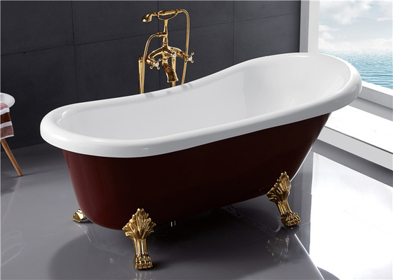 China Small Acrylic Clawfoot Bathtubs , Antique Freestanding Slipper Tub 1700 x 800 x 750 distributor