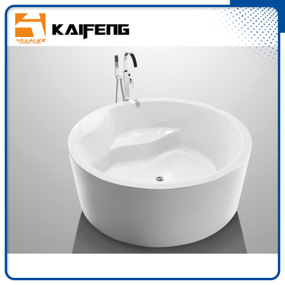 China White Round Freestanding Bathtub Acrylic Round Soaking Tub With Center Drain distributor