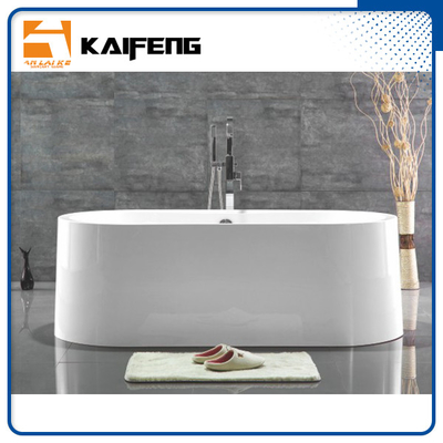 China Large Oval Acrylic Freestanding Soaking Bathtubs White Color With Overflow distributor