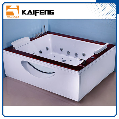 China Indoor Double Whirlpool Tub With Oak Edge Cover , Seamless Air Bubble Bathtub distributor