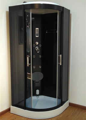 China 900mm Sector Sliding Glass Shower Cabin With Black Frame / Computer Control factory