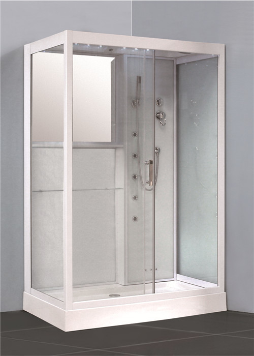 White Glass Shower Cabin Complete Shower Stalls With Brass Jets Computer Control