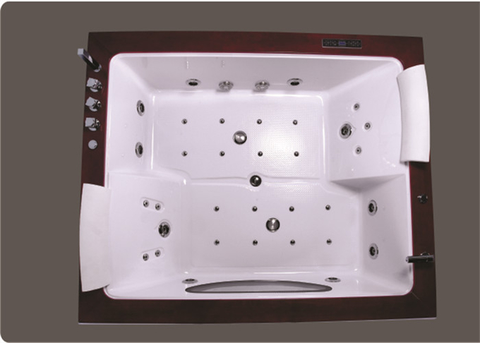Indoor Double Whirlpool Tub With Oak Edge Cover , Seamless Air Bubble Bathtub